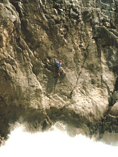 Pembroke HVS climbing on sea cliff