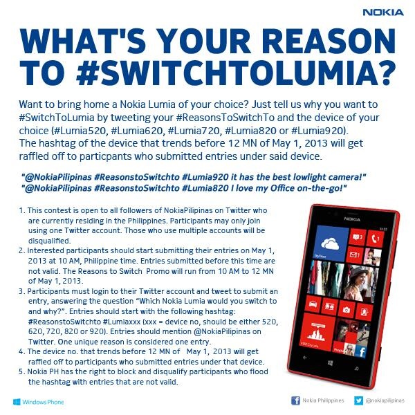 SwitchToLumia Twitter Contest Mechanics