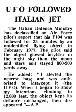 UFO Followed Italian Jet - The Telegraph 1-10-1980