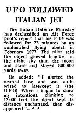 UFO Followed Italian Jet - The Telegraph 1-10-1980