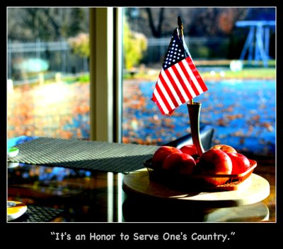 Apples and an American flag for Veterans Day, commemorating Veterans Day for Seasonal Sundays ♥ KitchenParade.com, a seasonal collection of easy family recipes for fall plus ideas for the home and life.