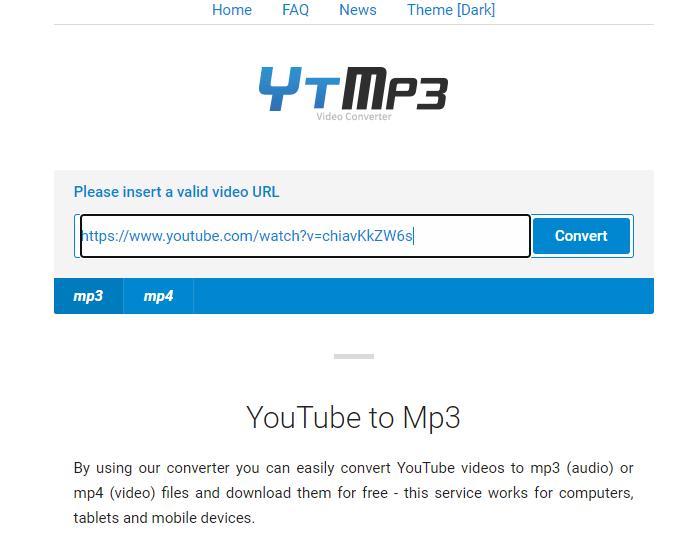 Tách nhạc YouTube bằng ytmp3.cc