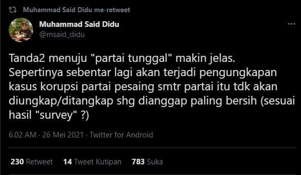 Soroti Hasil TWK KPK, Said Didu: Tanda Menuju Partai Tunggal Kian Jelas