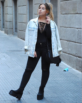 outfit casual lace up negro