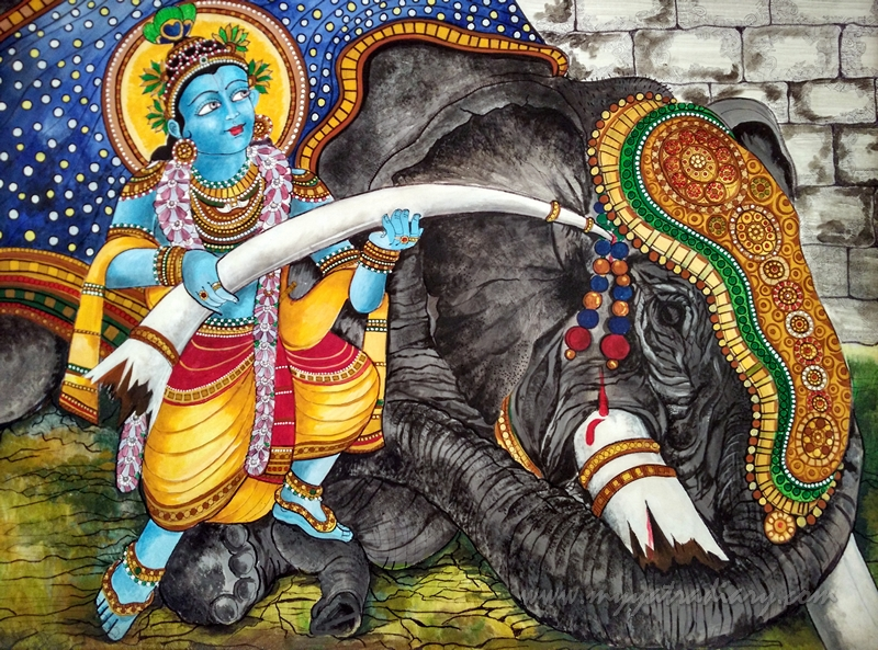 Elephant - Paintings in ISKCON Temple, Chennai