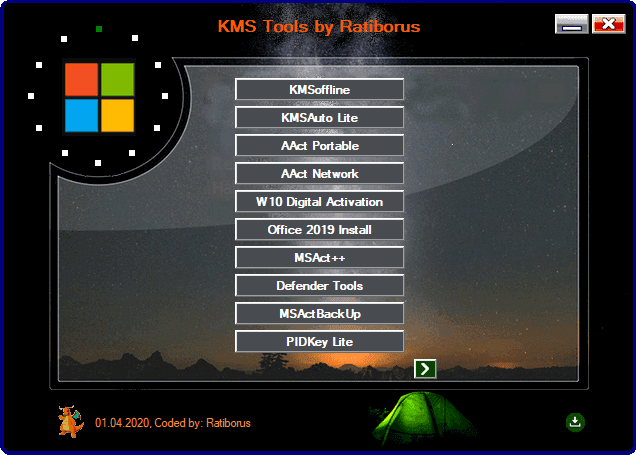 KMS Tools by Ratiborus 01.04.2020 - Công cụ actived Windows, Office