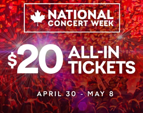 Live Nation $20 All In Concert Tickets