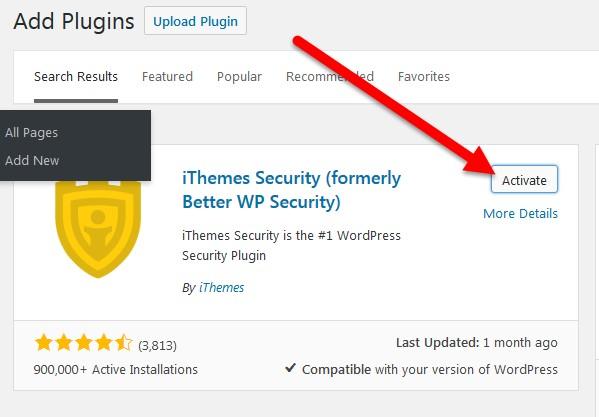 botón activar plugin itheme security