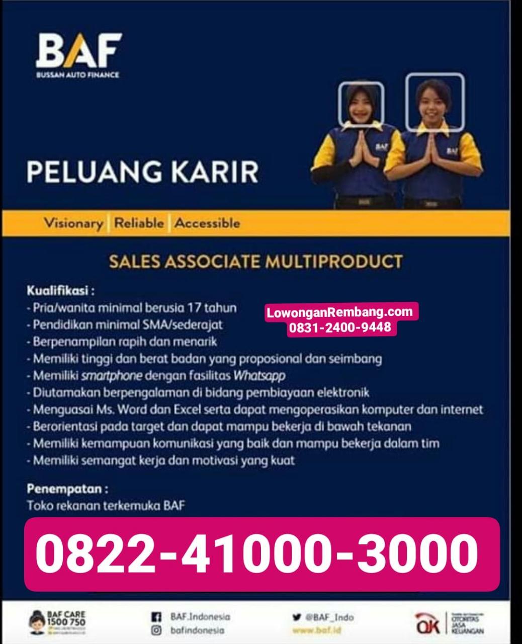 Lowongan Kerja Sales Associate Multiproduct BAF Finance Rembang