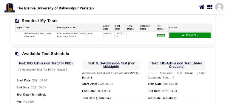 TheIslamia University of Bahawalpur IUB  1st Entry Test Roll Number Slip Upload