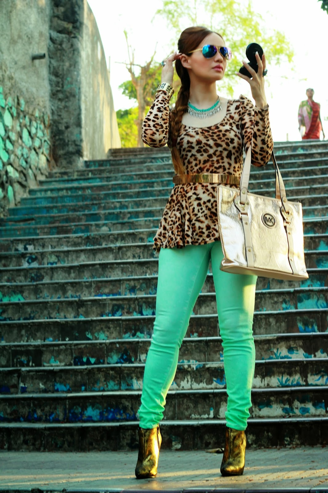 Leopard Peplum Top & Mint Green Jeans & Michael Kors Bag