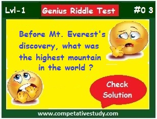 Before Mount Everest discovery what was the highest mountain in the world?