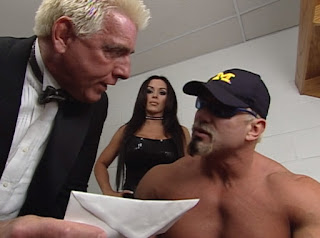 WCW Superbrawl Revenge 2001 - Ric Flair consults Scott Steiner with Midajah standing by
