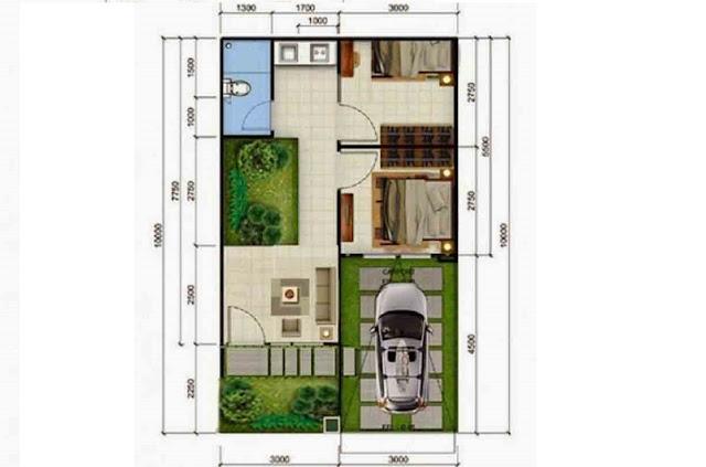 Rumah type 36 dengan Taman Indoor di Tengahnya