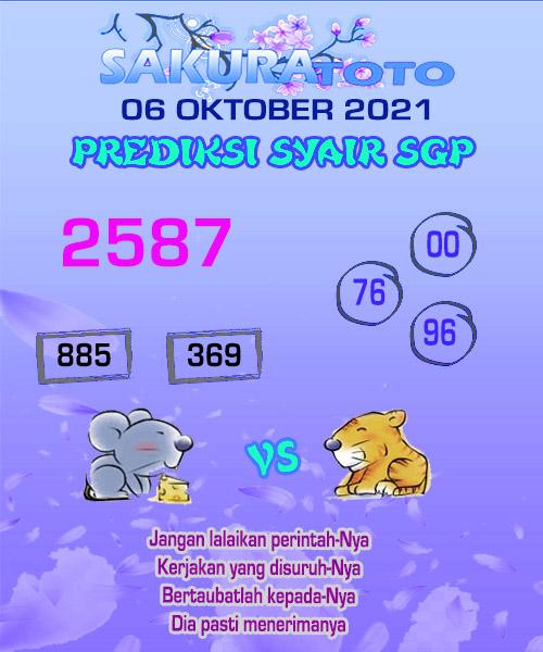 sakura SGP Rabu 06 Oktober 2021