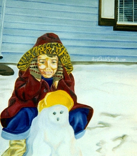 Mom's Snow Day Oil Painting