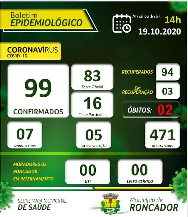 Boletim Epidemiológico de Roncador em 19 de outubro