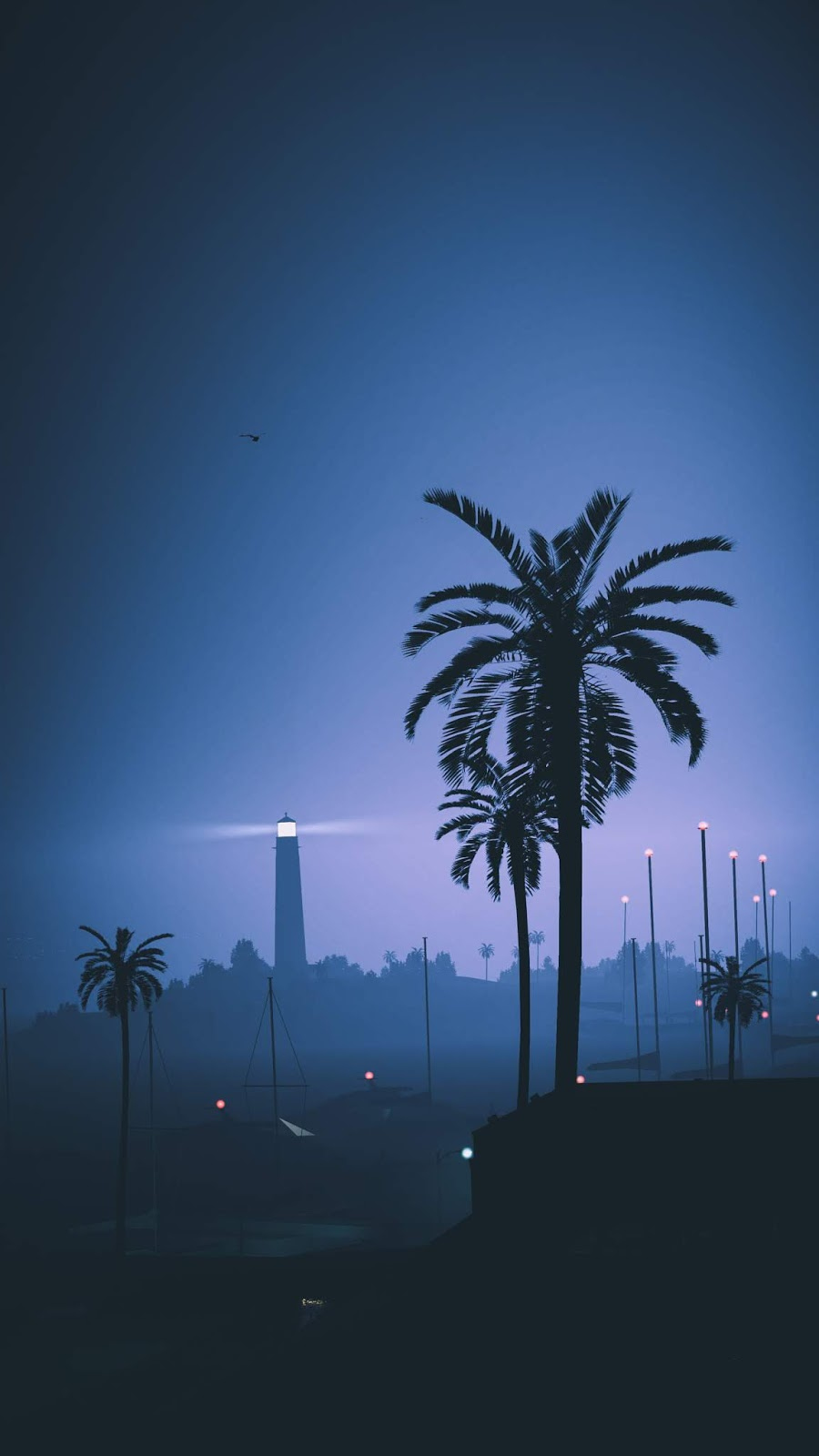 Aesthetic palms night city lighthouse vertical wallpaper 1080 x 1920 pixels