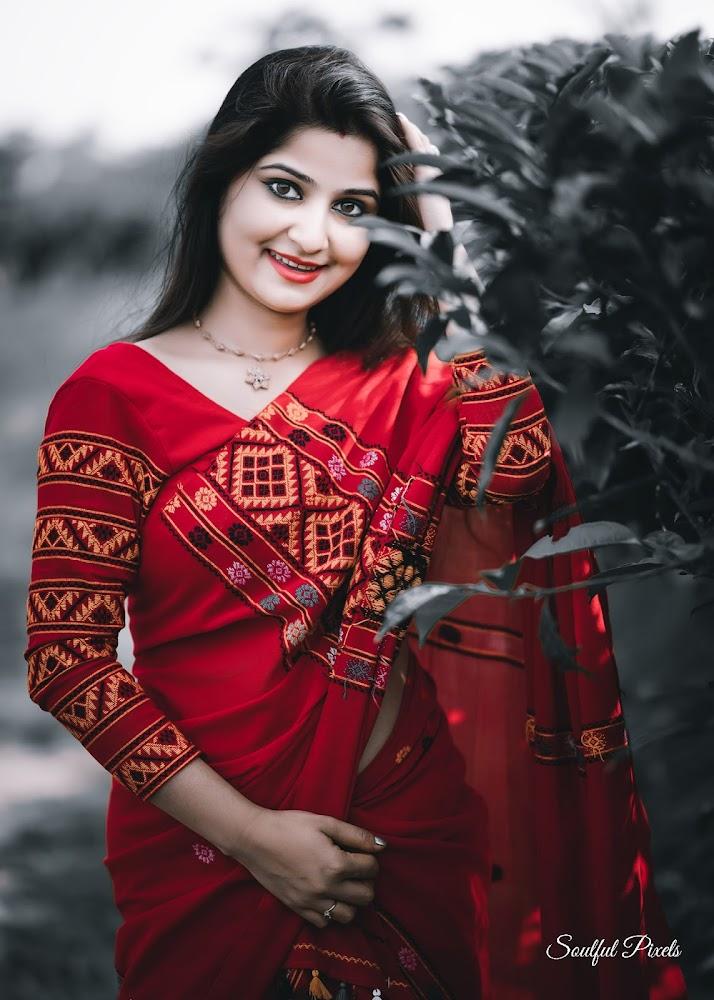 Assamese Model In Red Mekhela Sador