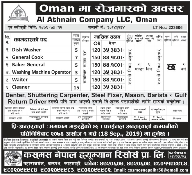 Jobs in Oman for Nepali, Salary Rs 44,180