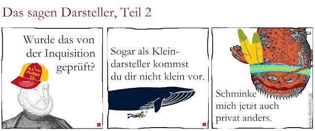 Philipp II., König von Spanien, der Blauwal und Frau Meerungeheuer über die Zusammenarbeit mit dem Comic-Macher.