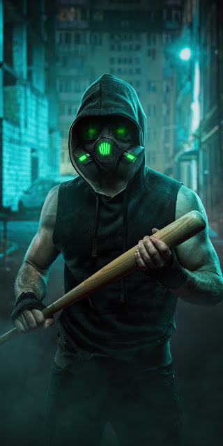 Hoodie Guy Wallpaper With Neon Gas Mask 4k