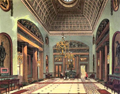 The Hall of Entrance, Carlton House, from The History of the Royal Residences by WH Pyne (1819)