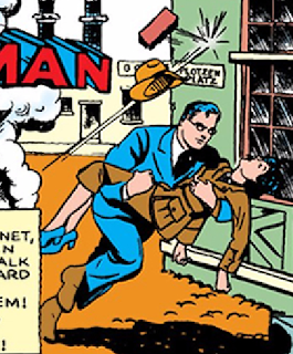 Action Comics (1938) #23 Page 1 Title Panel: Clark Kent carries an unconscious Lois Lane to safety.