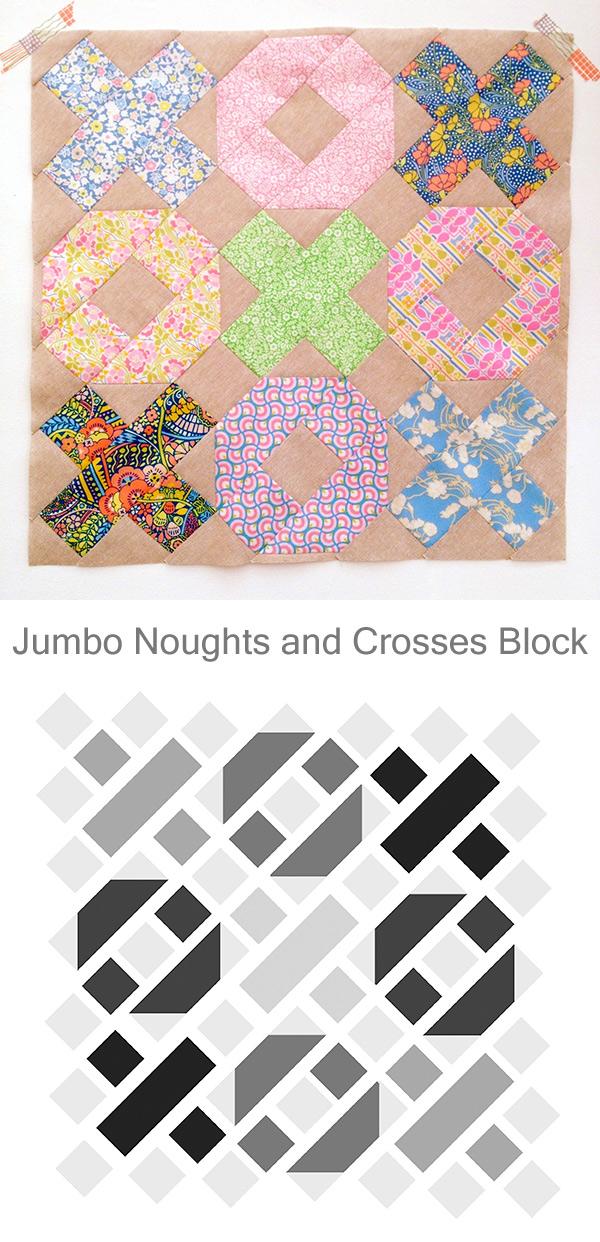 Jumbo Noughts & Crosses Block - Patchwork Tutorial