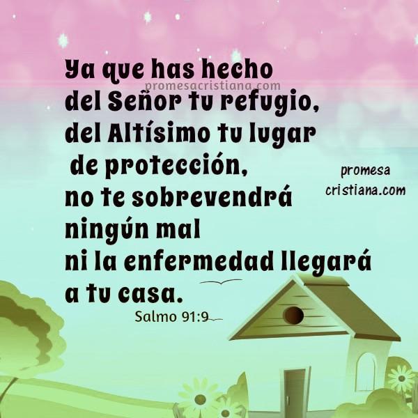 imagen con el salmo 91 proteccion de la familia  y la casa versiculo biblico de la noche para dormir tranquilo