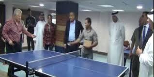 مباراة بينج بونج بين مرتضى منصور ووفد البحرين فى نادي الزمالك
