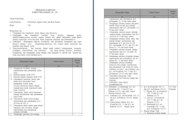 Prota pai smp kelas 7 kurikulum 2013