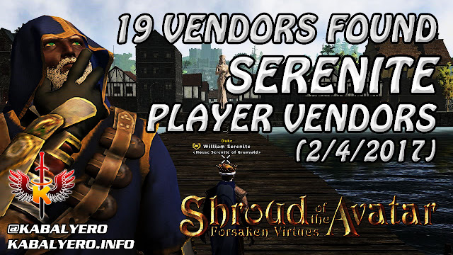 Serenite Player Owned Town, 19 Player Vendors Found (2/4/2017) 💰 Shroud Of The Avatar Market Watch
