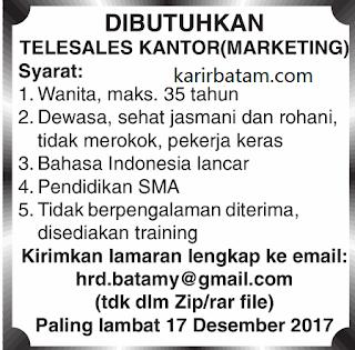 Lowongan Kerja Telesales (Marketing) Ditutup 17 Desember 2017