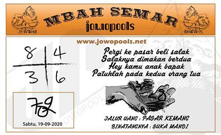 Syair Mbah Semar HK Sabtu 19 September 2020