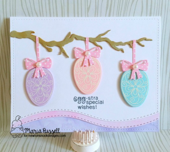 Egg-stra Special Wishes Card by Maria Russell | Easter Eggs | Beautiful Spring Stamp set by Newton's Nook Designs #newtonsnook