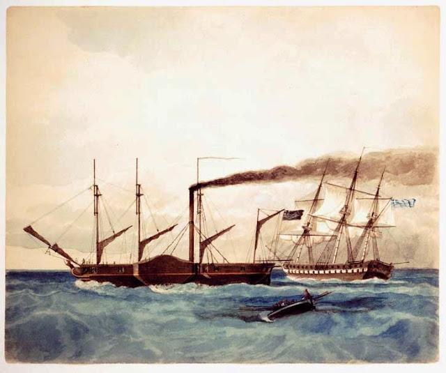 """Στις 3 Σεπτεμβρίου 1826 φτάνει στο Ναύπλιο το πρώτο ατμοκίνητο ελληνικό πολεμικό πλοίο """"Καρτερία"""""""