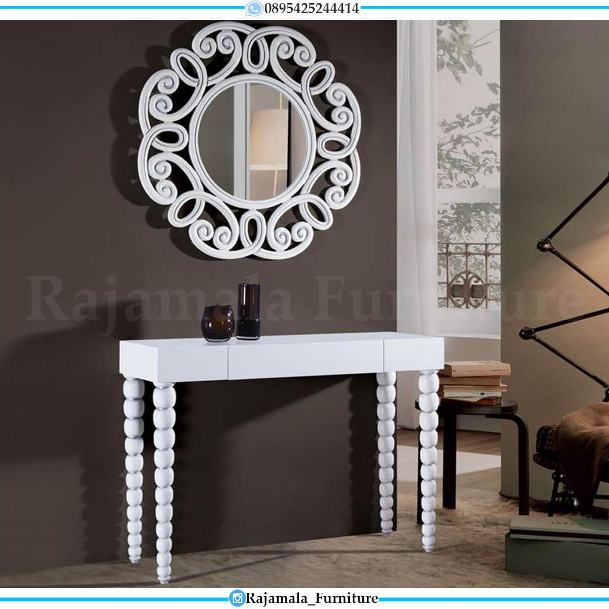 Meja Konsul Mewah Minimalis Putih Duco Elegant Beauty Carving RM-0675