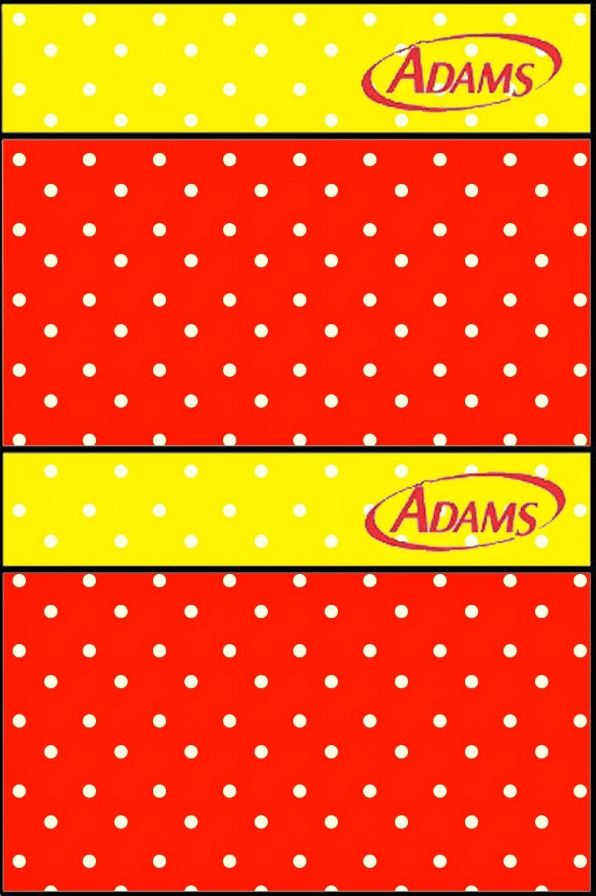 Etiqueta Golosinas Adams para Imprimir Gratis de Rojo, Amarillo y Lunares Blancos.