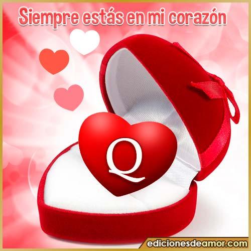 corazón con frases Q