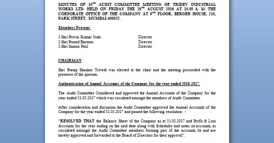 audit committee meeting format for annual accounts