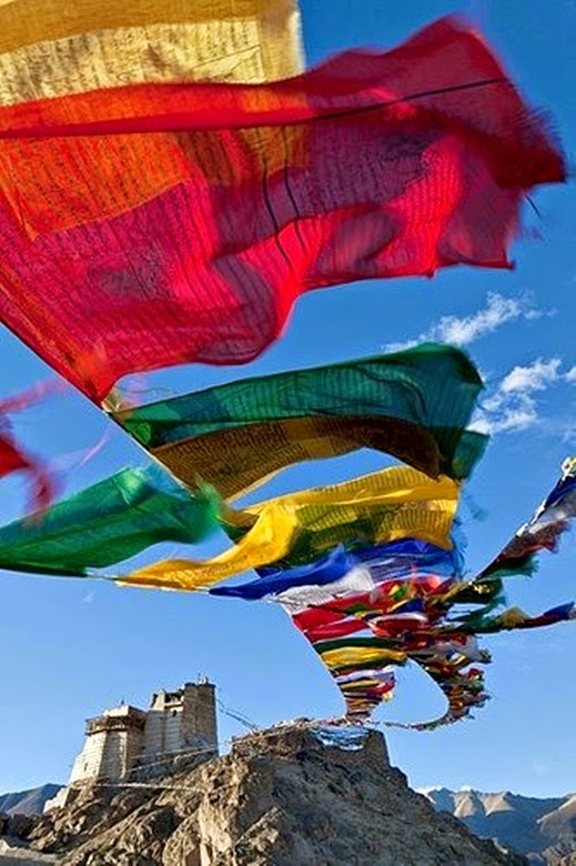 10 Best Backpacking Destinations in India | Prayer Flags at Tsemo Fort Leh, Ladakh, India