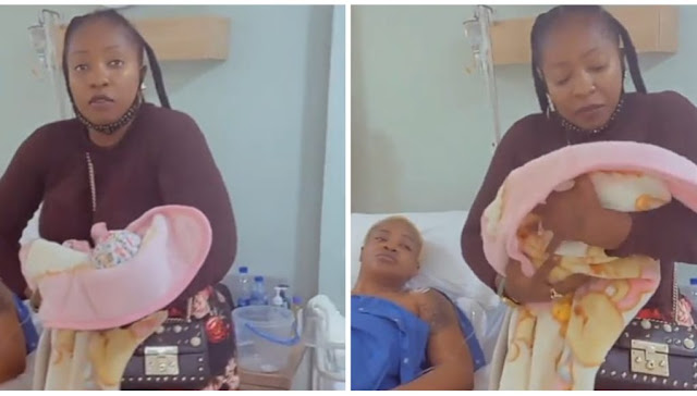 Watch the Lovely moment as Anita Joseph held Uche Ogbodo Baby for the first time (Video)