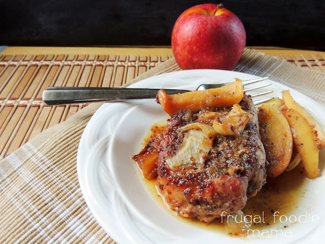 Tender pork chops are slow cooked all day with apples & spiced apple butter in these Slow Cooker Apple Butter Pork Chops- a definite meal plan must-add for fall time. #slowcooker #crockpot #applebutter #porkchops