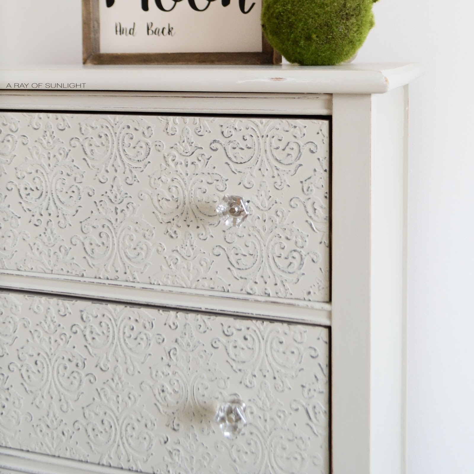 Light Gray Painted Dresser with Embossed Drawer Fronts