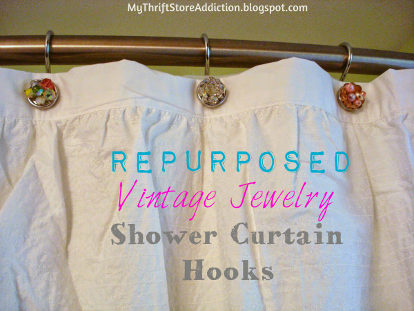 Repurpose vintage earrings shower curtain hooks