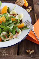 Ensalada de mandarina, rúcula y orecchiette