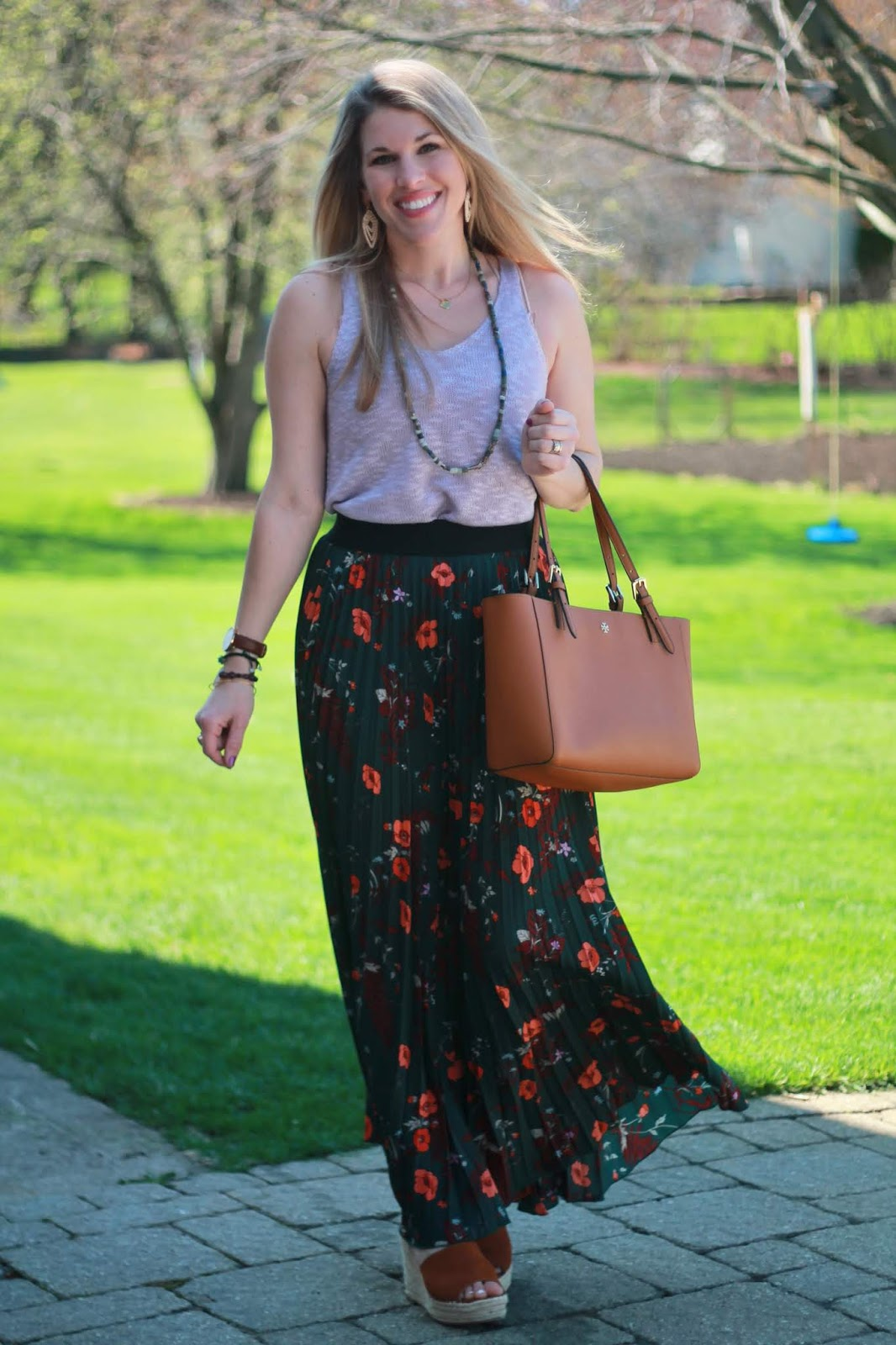 green floral pleated maxi skirt, lavender sweater tank, cognac wedges, wedge sandals, cognac Tory Burch tote,