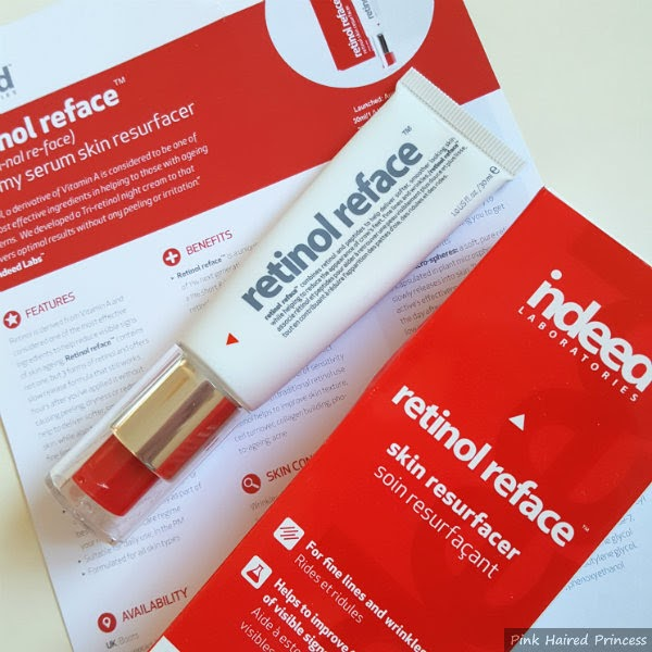 Retinol Reface information card, box and tube of serum