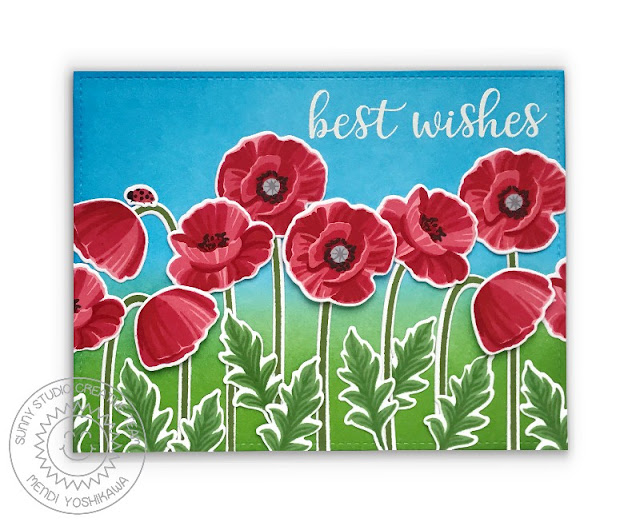 Sunny Studio Poppies Layered Flowers Best Wishes Card (using Poppy Fields & Everyday Greetings Stamps)